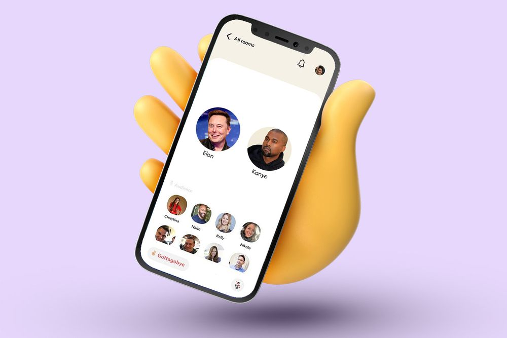 Clubhouse app on phone with Elon and Kanye as speakers