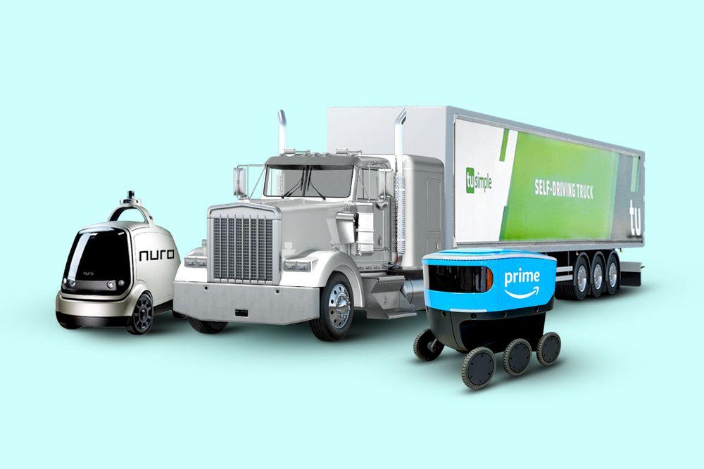 Mock-ups of a Nuro robotic vehicle, TuSimple autonomous truck, and Amazon Prime Scout Robot