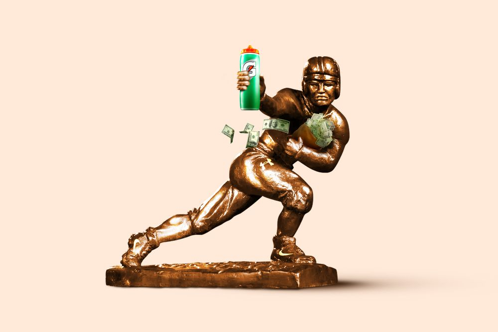 An illustration of the Heisman trophy. The bronze figuring of a football player is holding a gatorade bottle in one hand and cradling a bag of money in the other.