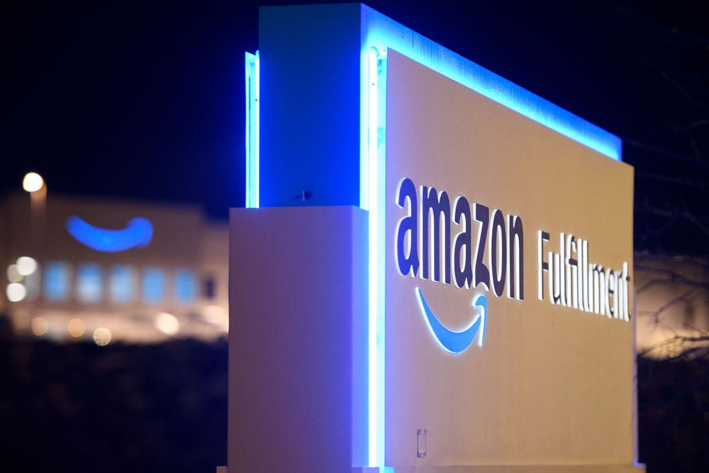 A sign at the Amazon.com, Inc. BHM1 fulfillment center is seen before su...