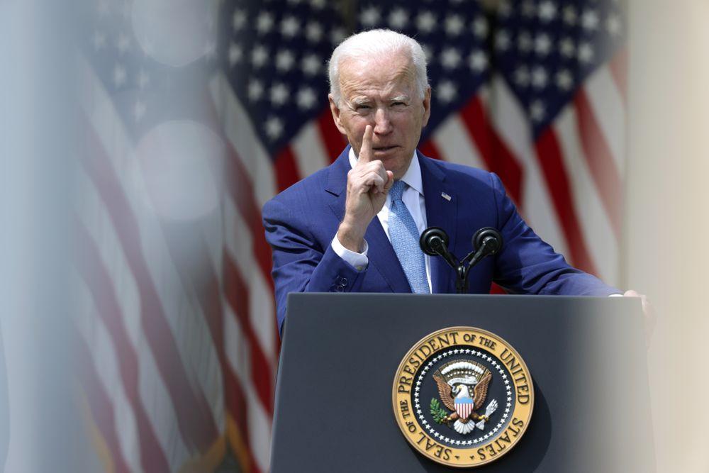 WASHINGTON, DC - APRIL 08: U.S. President Joe Biden speaks  during an ev...
