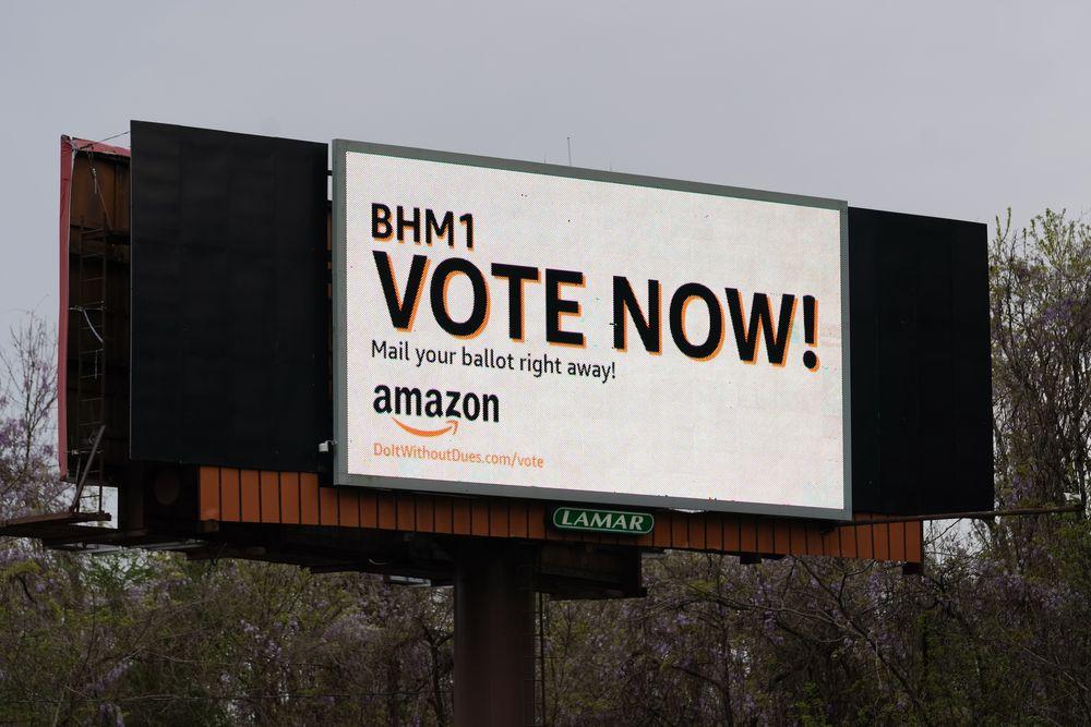 BESSEMER, AL - MARCH 28: An Amazon-sponsored billboard urging employees ...