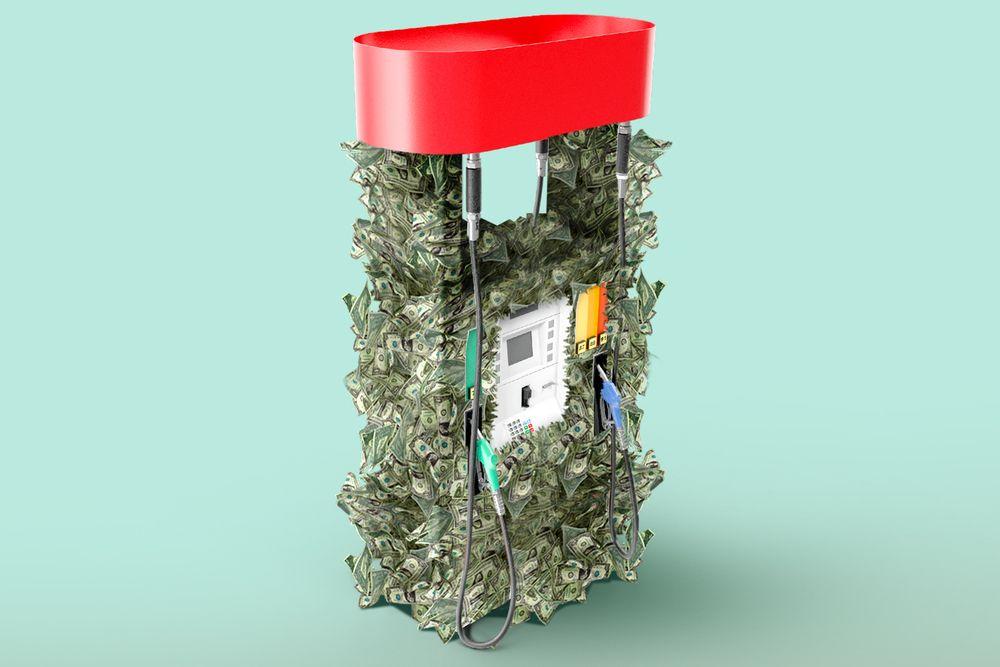 Gas pump with dollar bills