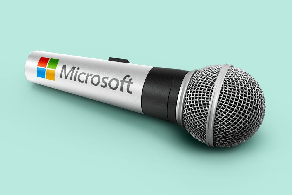An illustration of a microphone in front of a turquoise background with the Microsoft logo and name emblazoned on the silver metal handle.