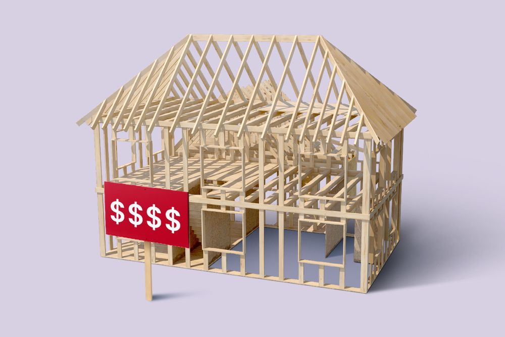 An illustration of the wooden frame of a house in front of a lavender background. In front of the house is a red sign with four $ printed on it.