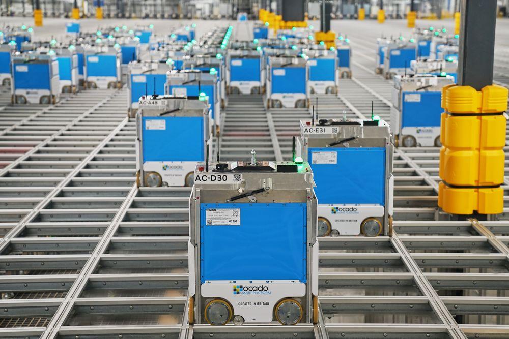Kroger Ocado bots in a warehouse
