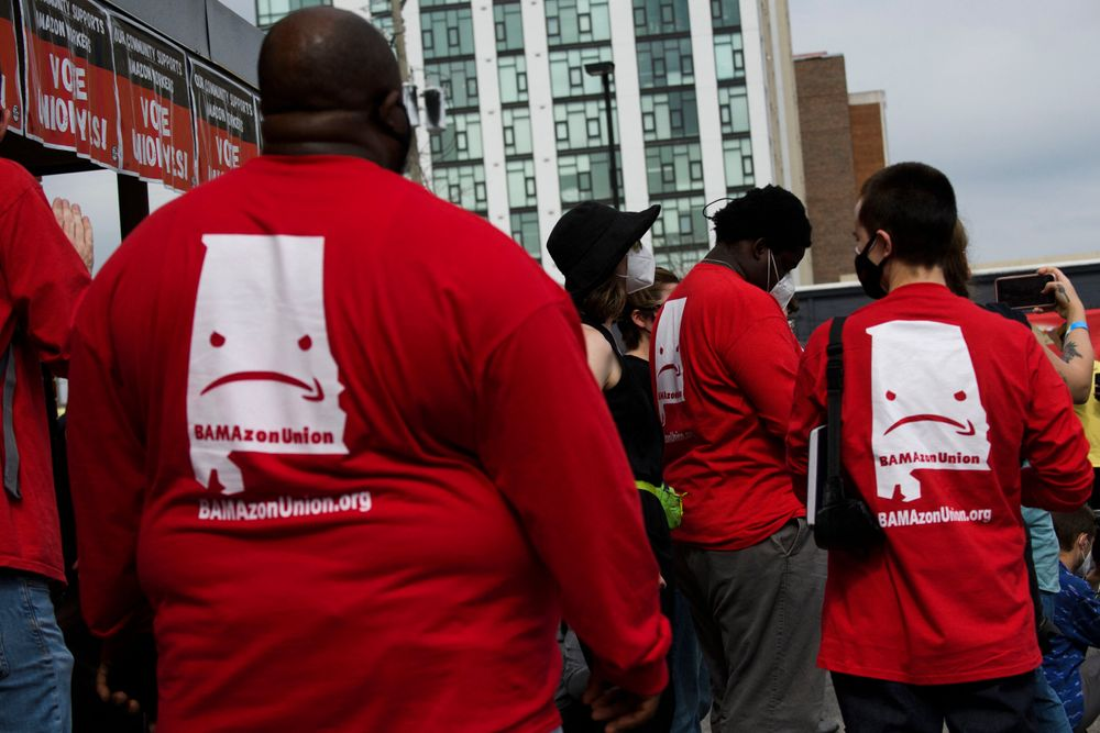 Organizers wear shirts in support of the unionization of Amazon.com, Inc...
