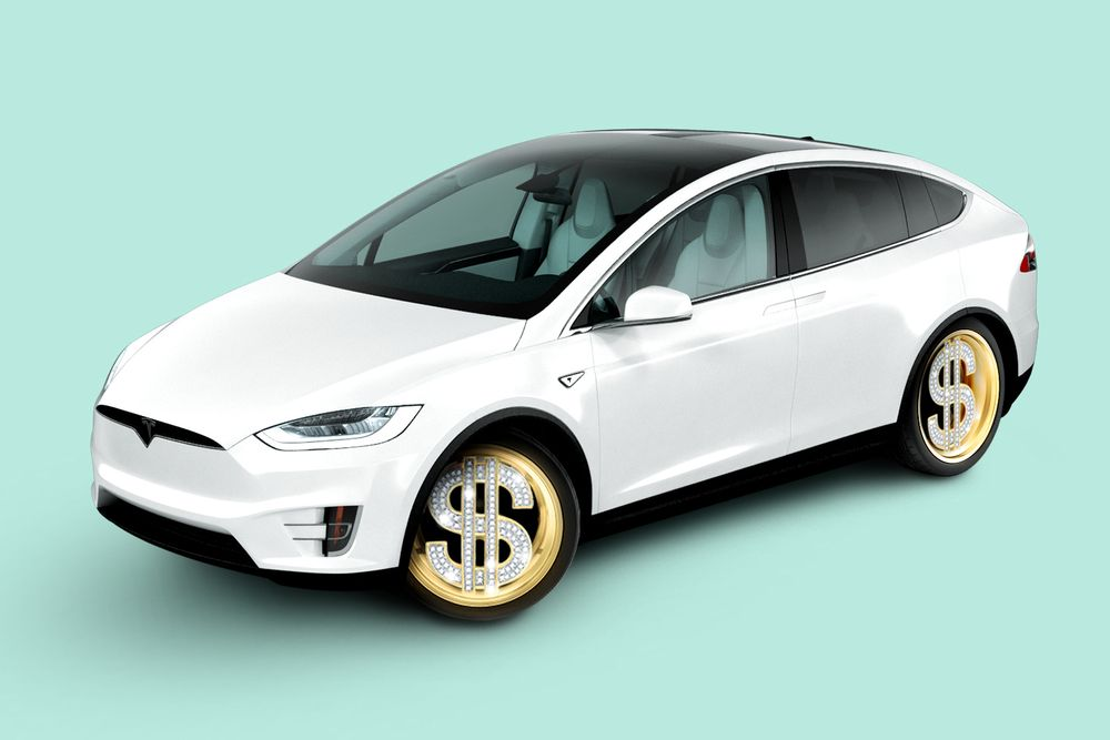 An illustration of a white Tesla sedan in front of a turquoise background. The tire rims are bedazzled silver dollar signs surrounded set in a gold circle.