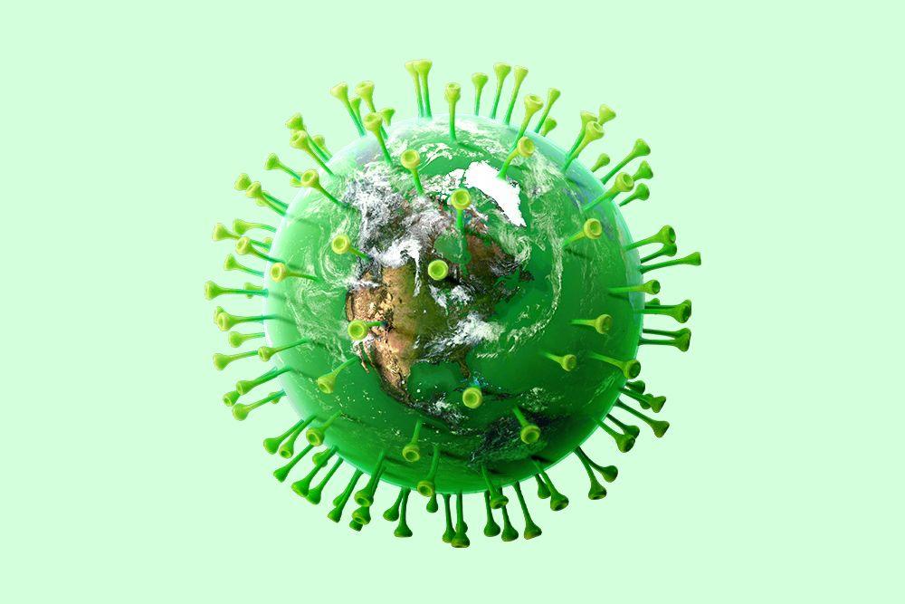 The Earth superimposed on the coronavirus