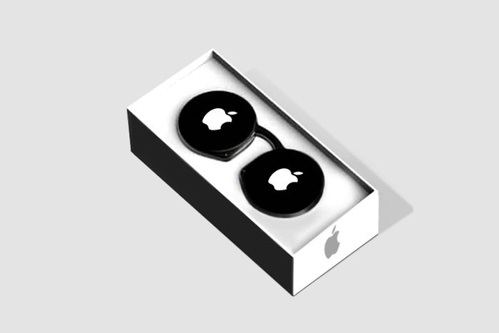 Sketch image of Apple mixed reality glasses in a box