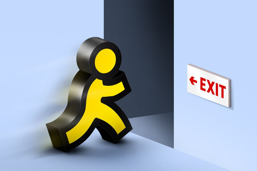 """An illustration of the yellow AOL running man logo headed into a dark doorway with a red """"exit"""" sign pointing at it."""