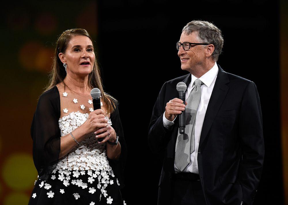 NEW YORK, NY - MAY 14:  Melinda Gates and Bill Gates speak on stage duri...