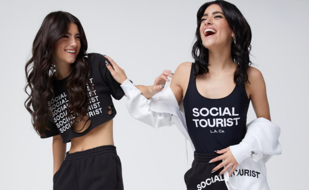 Charli and Dixie D'Amelio in a clothing campaign for Social Tourist by Abercrombie & Fitch