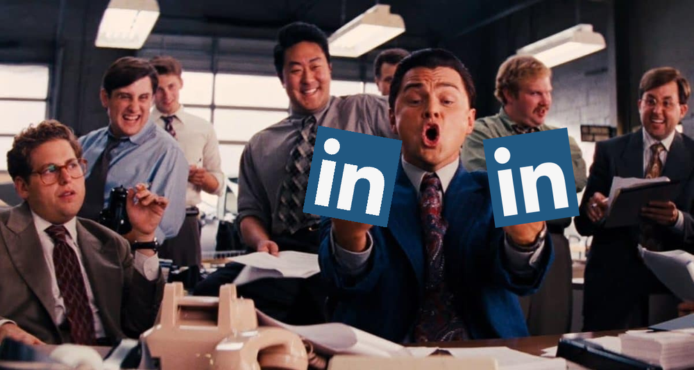 Scene from Wolf of Wall Street with LinkedIn logo covering Leonardo DiCaprio's middle fingers