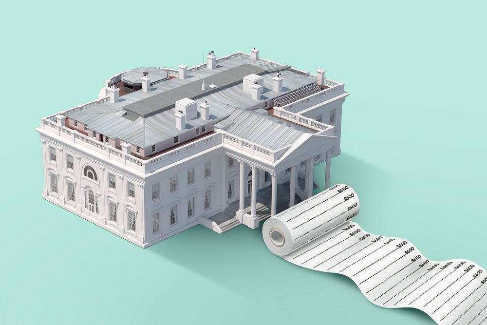 An illustration of the White House in front of a teal background. A large, rolled up receipt that unfurls to the edge of the picture sits at the base of the building's entrance.