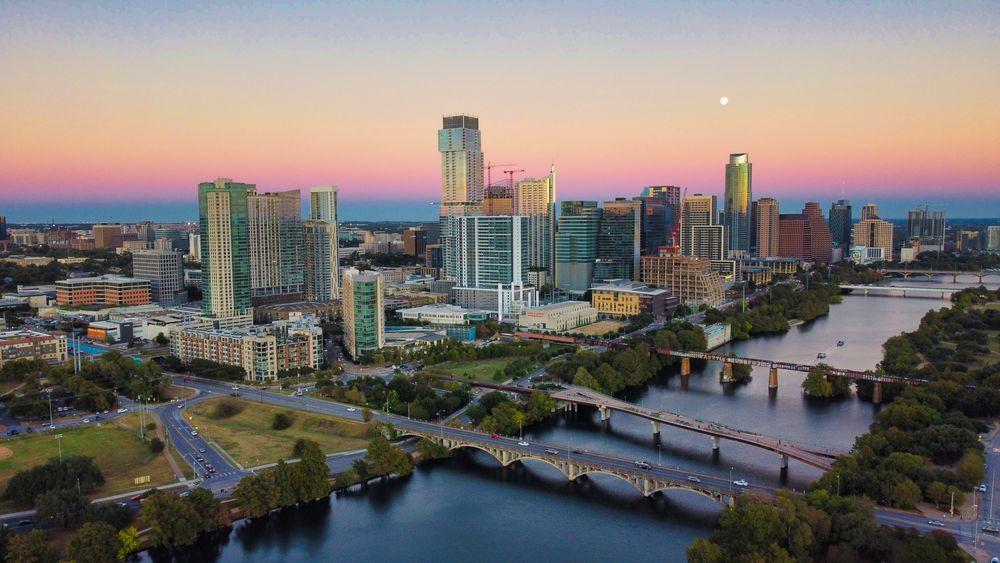 Austin Texas skyline at dusk, October 2020
