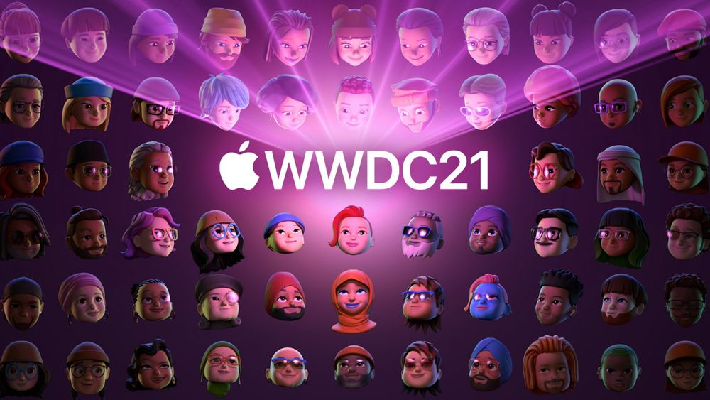 A screen filled with neat rows of Apple's Memoji human avatar heads. They are all looking to the middle of the screen, where
