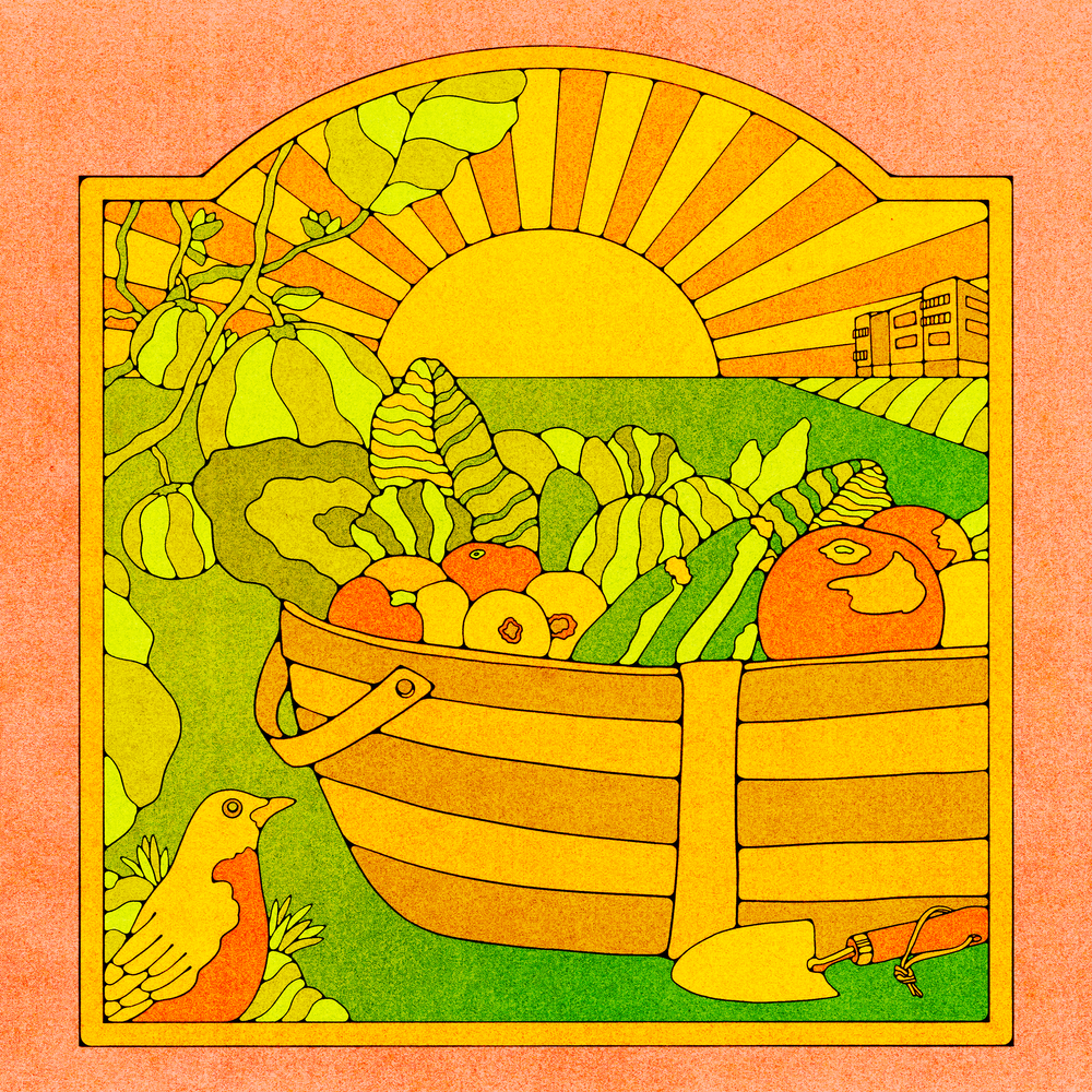 An illustration of a basked filled with produce in front of a framed sunset. The entire image is warm shades of oranges, yellows, browns, and greens. In the bottom left corner sits a bird, and watermelons growing on a vine sit to the left of the basket.