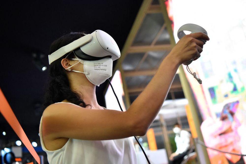 Woman trying a virtual reality headset