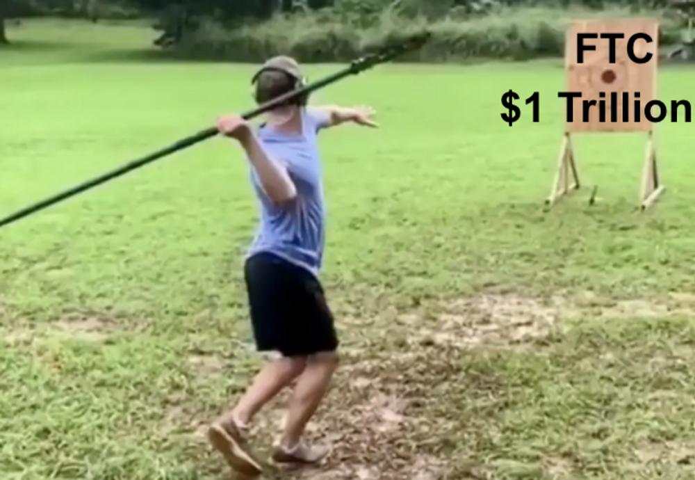 Zuck throwing a spear