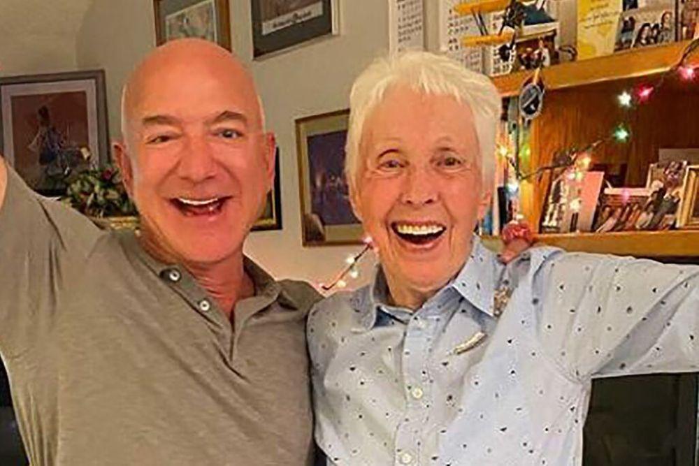 Wally Funk and Jeff Bezos
