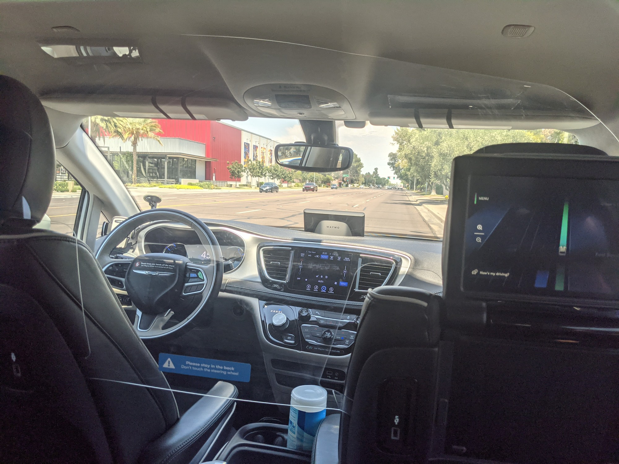 waymo ride view from inside car self-driving driverless