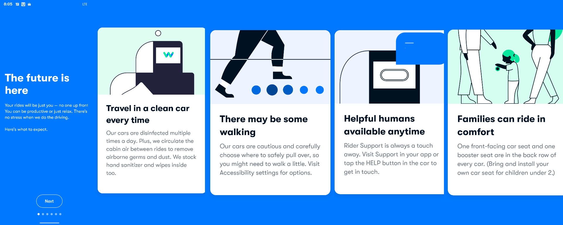Waymo app screenshot, containing information about what to expect in a fully autonomous driverless Waymo One vehicle