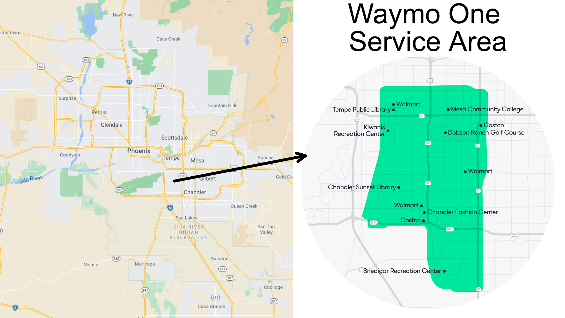 Waymo One service area in metro phoenix, specifically in Chandler, Tempe, and Mesa, Arizona