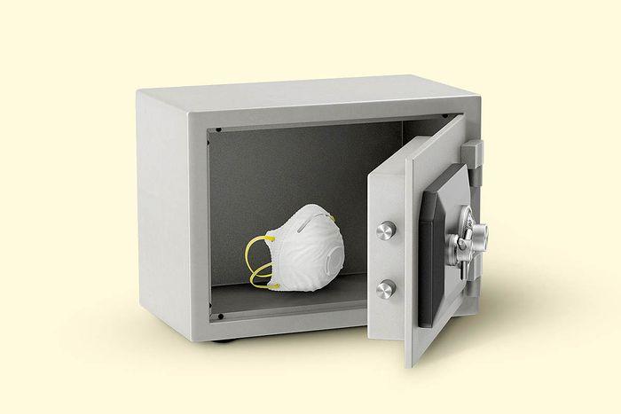 Bank safe with mask inside