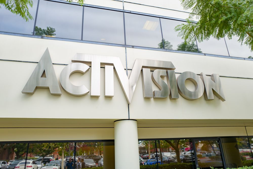 Sign on facade of office of videogame publisher Activision in the Silico...