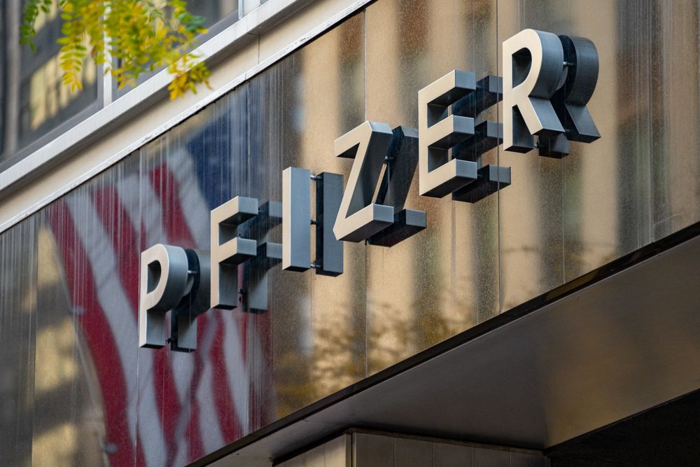 NEW YORK, NY - NOVEMBER 09: A sign for Pfizer is seen outside the Pfizer...