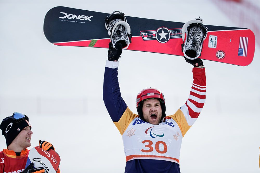 Mike Schultz after winning gold at the 2018 Paralympics