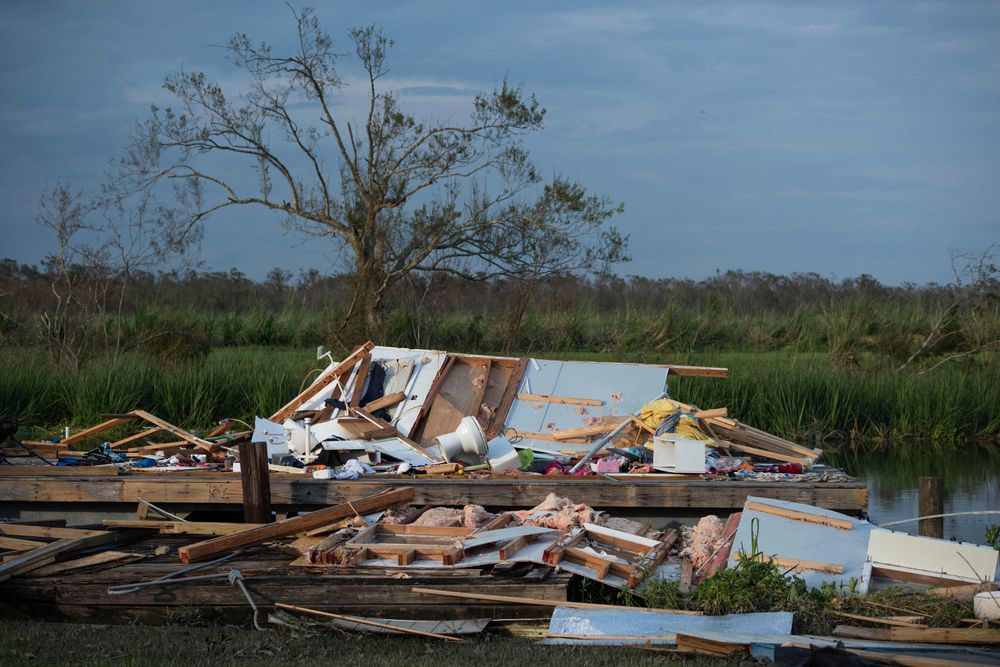 The remains of a houseboat are seen in Montegut, Louisiana on August 31,...