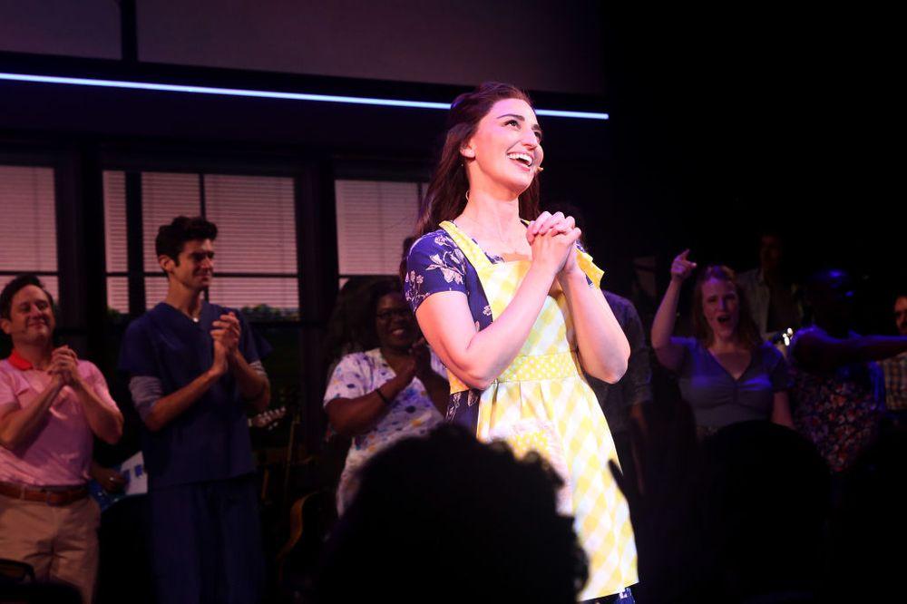 Sara Bareilles performing in Waitress on Broadway