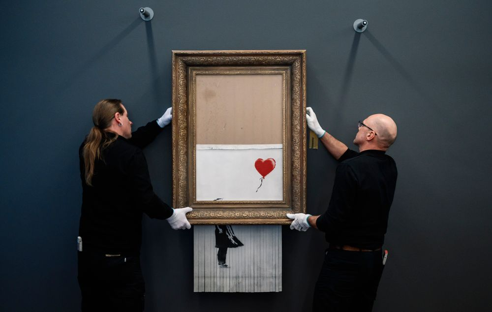 BADEN-BADEN, GERMANY - FEBRUARY 04: Banksy's