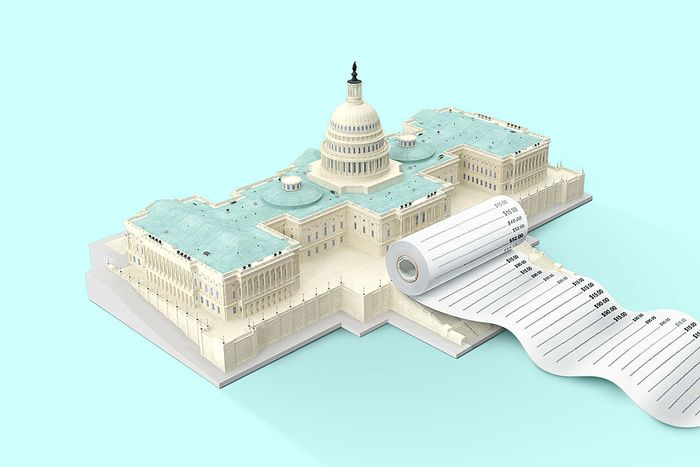 U.S. Capitol building with a long receipt coming out the front
