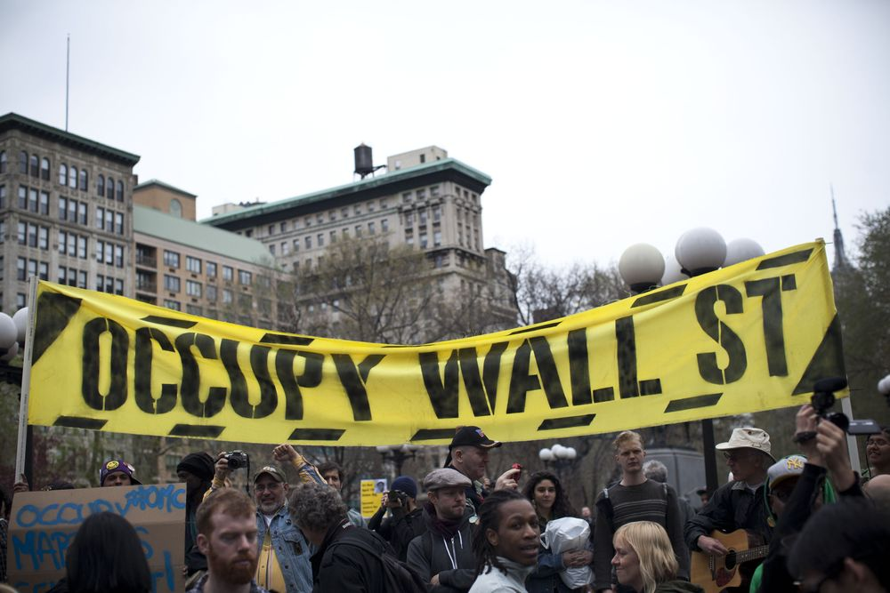 NEW YORK, NY - MARCH 24:  An Occupy Wall Street banner is seen in Union ...