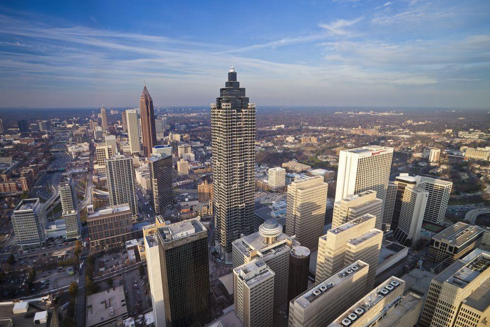USA, Georgia, Atlanta City, Down Town Skyline. (Photo by Jose-Fuste RAGA...