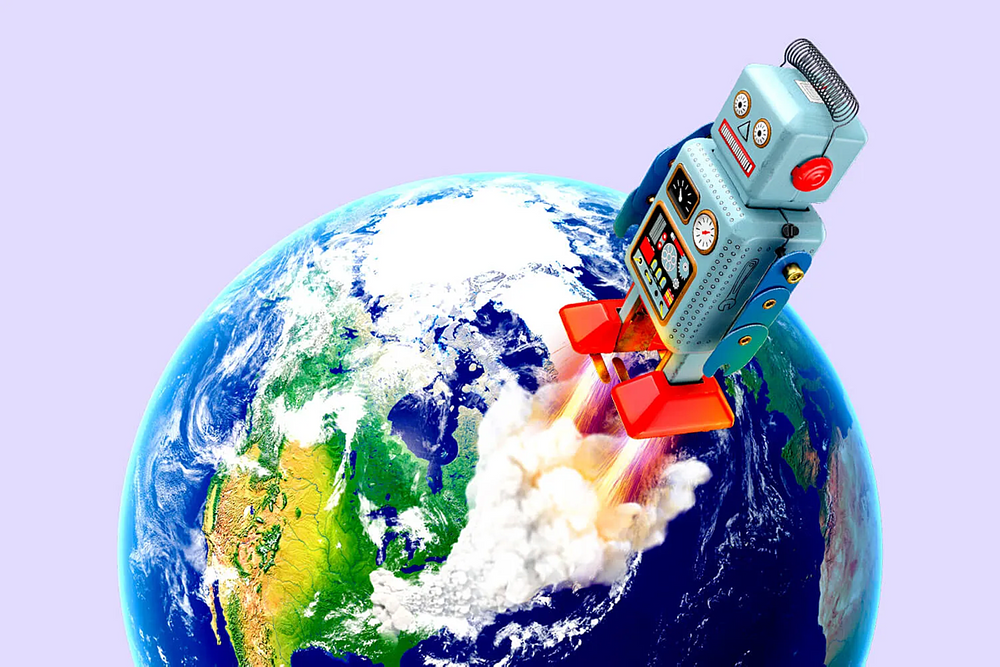 Robot taking off from Earth