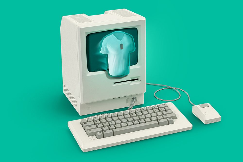 A shirt coming out of a computer in a virtual pop up