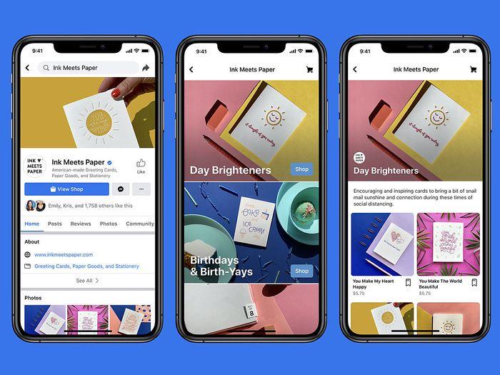 Facebook Shops e-commerce mockups from Facebook