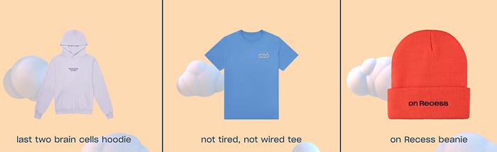 Three items from new Recess CBD loungewear line