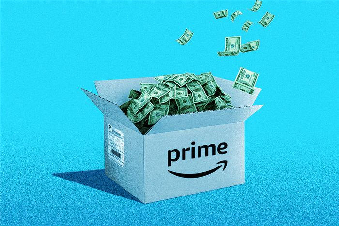A box filled with cash for Amazon Prime Day