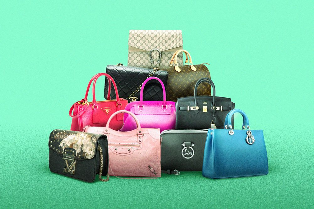 The RealReal luxury bags in a pyramid