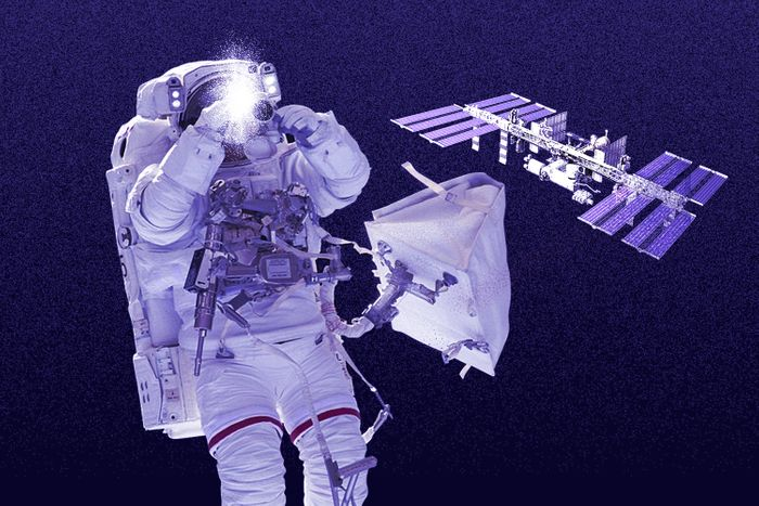 Astronaut taking a photo in space