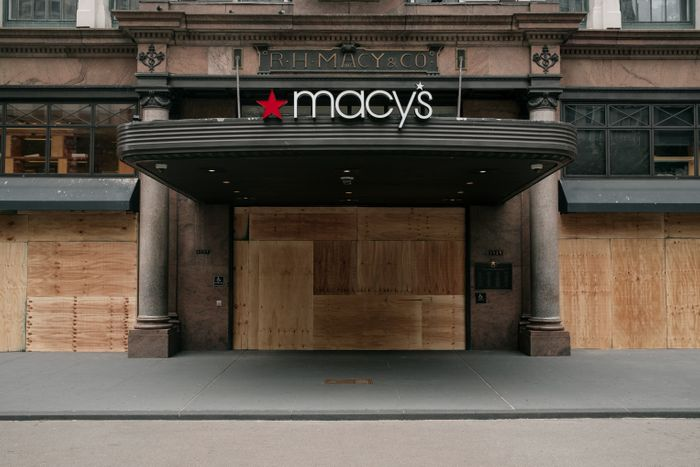 NEW YORK, NY - JUNE 02: The Macy's flagship store is seen boarded up aft...