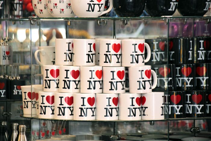 "11 June 2019, US, New York: Cups with the ""I love New York"" logo are off..."