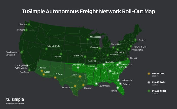 TuSimple Autonomous Freight Network Roll-out Map