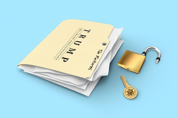 Documents in a folder with Trump Organization insignia