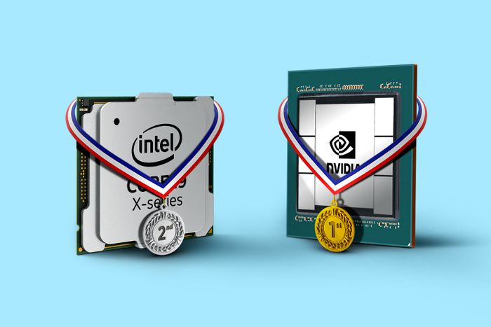 Nvidia chip with gold medal, Intel chip with silver